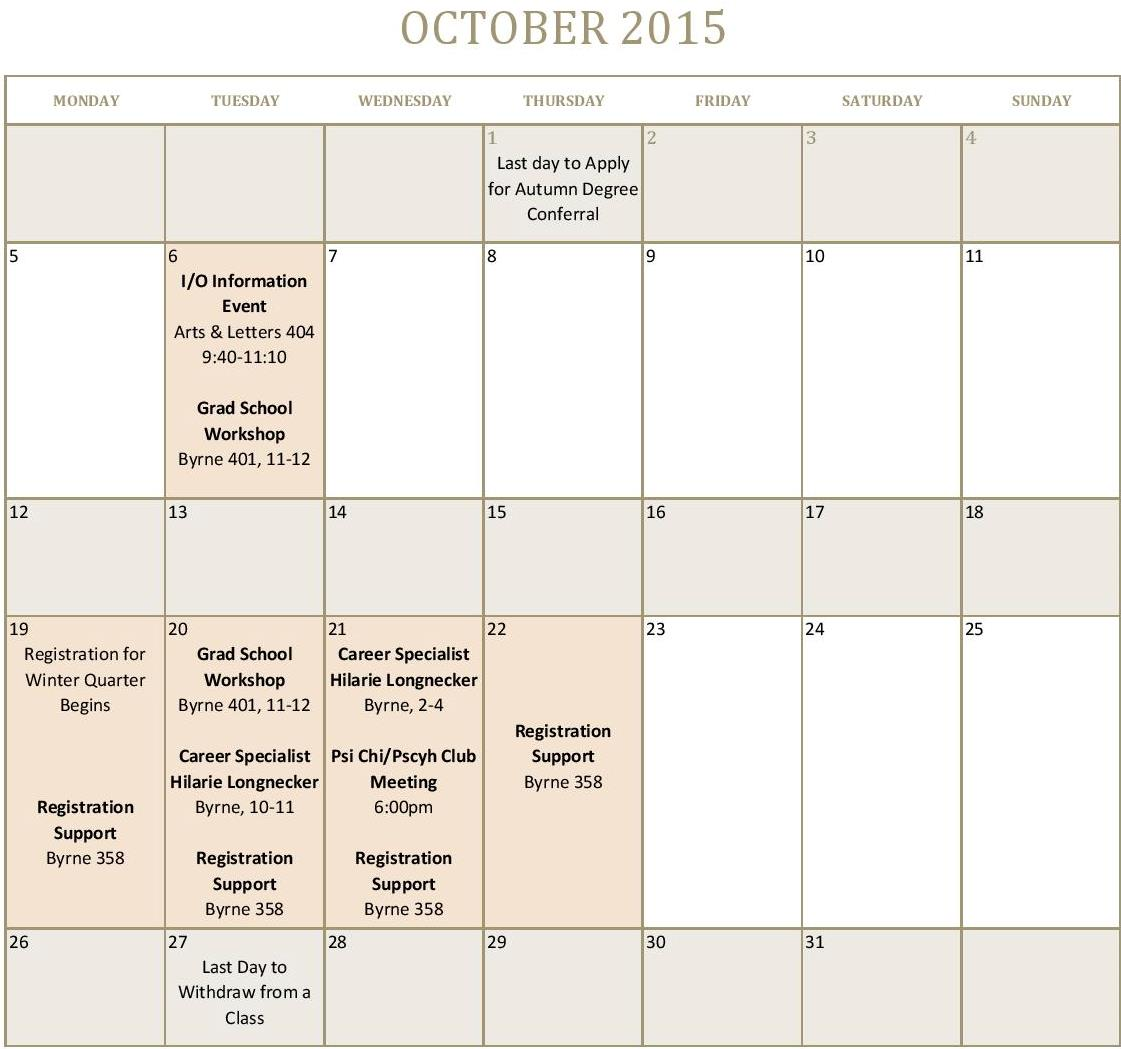 Depaul Calendar.October Calendar Posted To Events Tab Depaul Psychology
