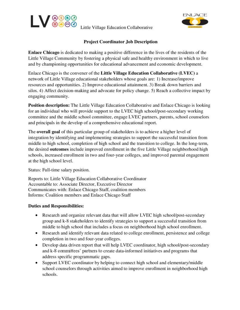 Little Village Education Collaborative Project Coordinator – Project Coordinator Job Description