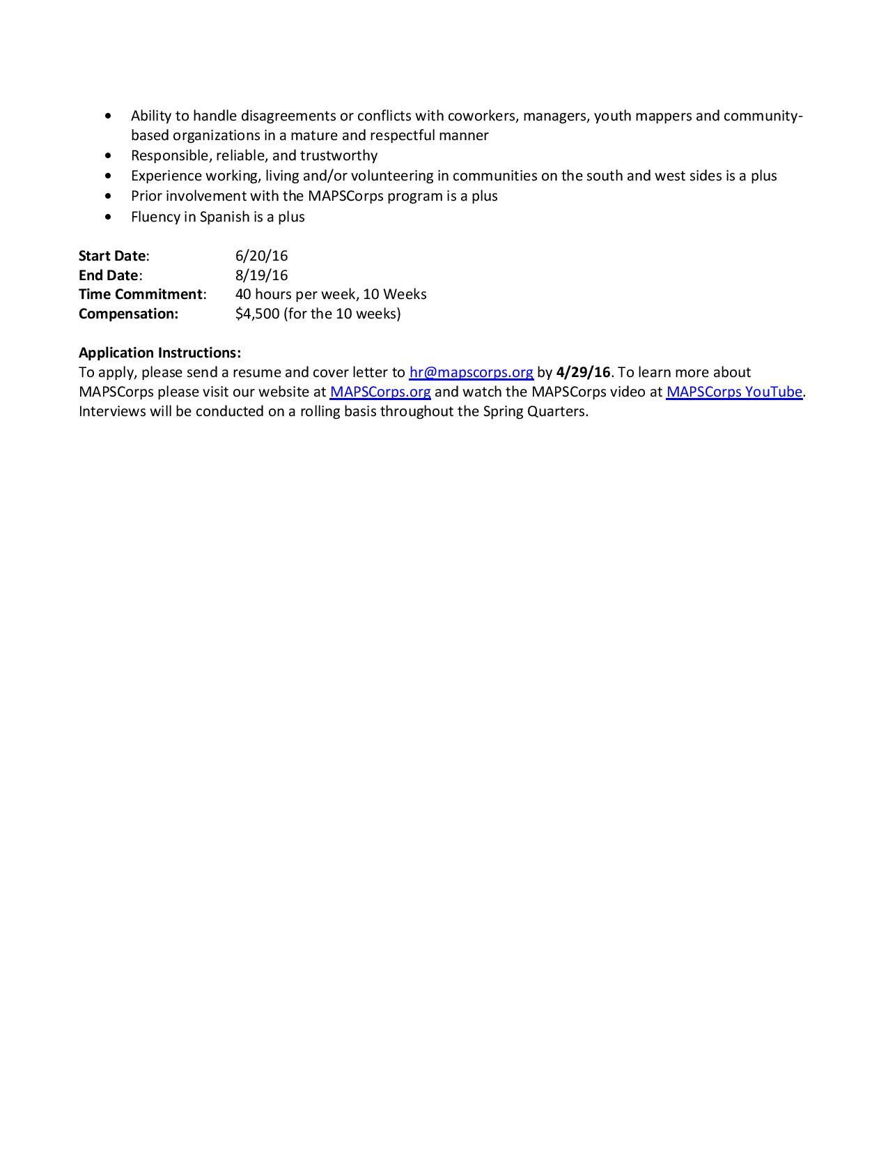 MAPSCorps Coordinator Job DePaul Psychology – Program Coordinator Job Description