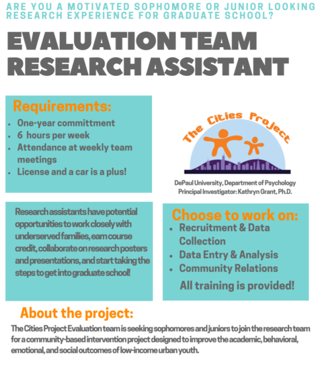 Evaluation Team- Research Assistant, Cities Project! Looking for new